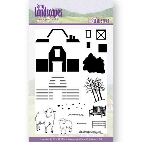 Clearstamps Jeanine`s Art - Spring Landscapes - farm
