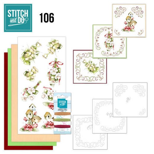 Stitch and Do Pakket - pink spring flowers