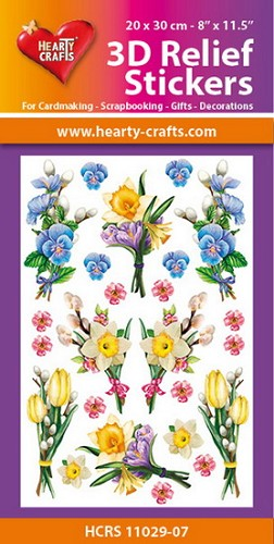 Hearty Crafts 3D Relief Stickers - flowers