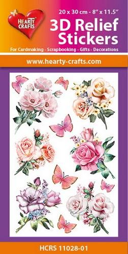 Hearty Crafts 3D Relief Stickers - roses