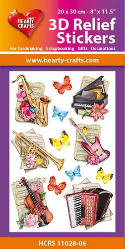 Hearty Crafts 3D Relief Stickers - music
