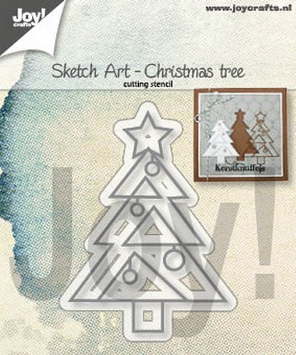 Joy Stencil - Sketch Art - christmas tree