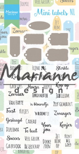 Marianne Design Stamp & Die Set - mini labels (Nederlands)