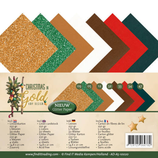 Linnenkarton Amy Design - Christmas in Gold (A5)