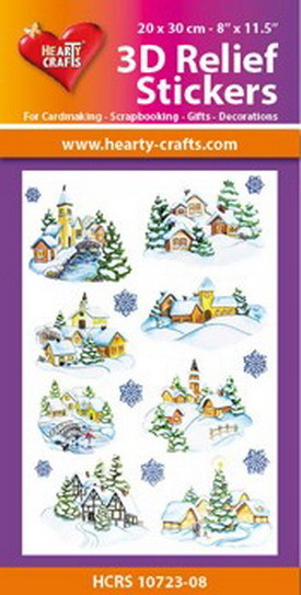 Hearty Crafts 3D Relief Stickers - winter village