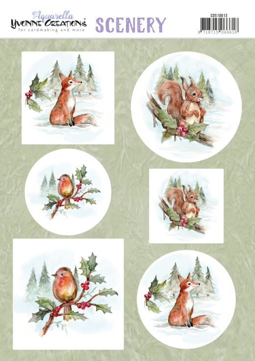 Stansvel Yvonne Creations Scenery - Aquarella - christmas animals