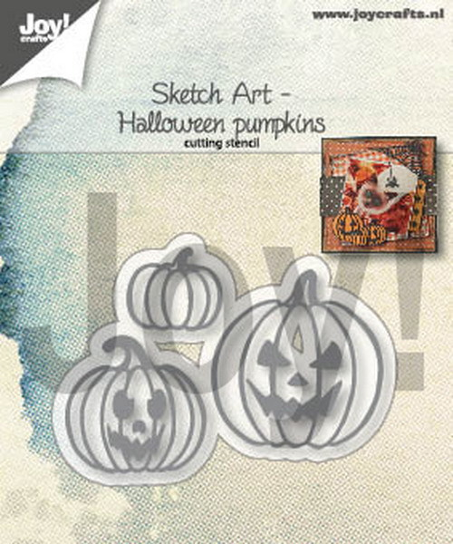 Joy Stencil - Sketch Art - halloween pumpkins witch
