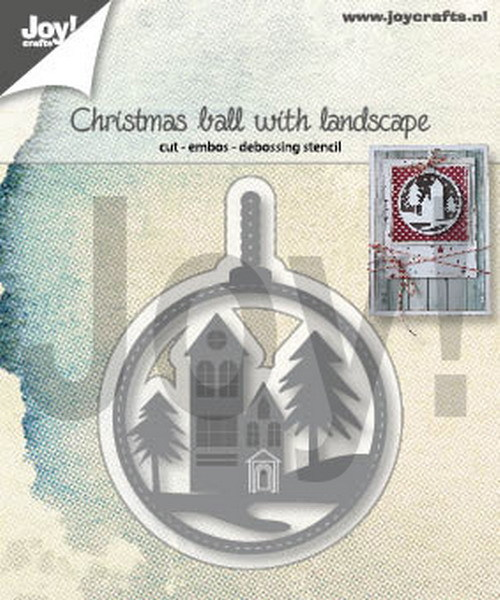 Joy Stencil - christmas ball with landscape