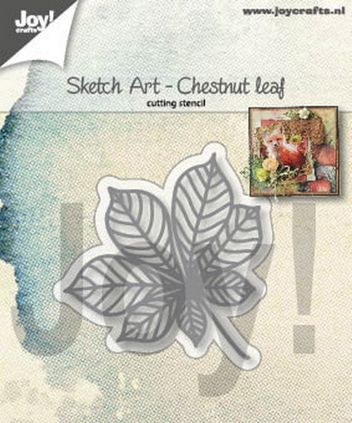 Joy Stencil - Sketch Art - chestnut leaf