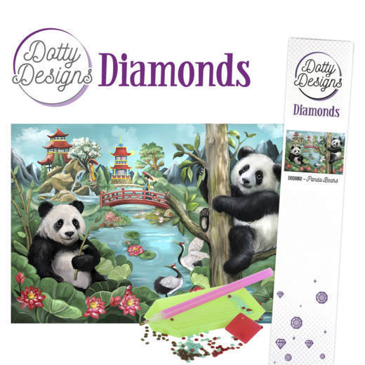 Dotty Designs Diamond Painting Pakket - panda bears