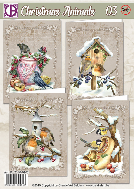 Creatief Art Kaartenpakket - Christmas Animals 03