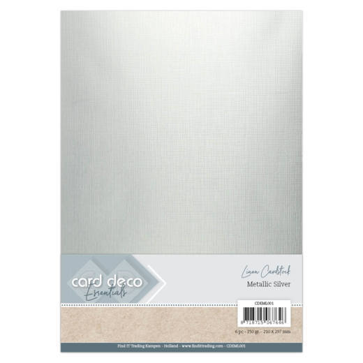 Card Deco Essentials - Linen Cardstock - metallic silver