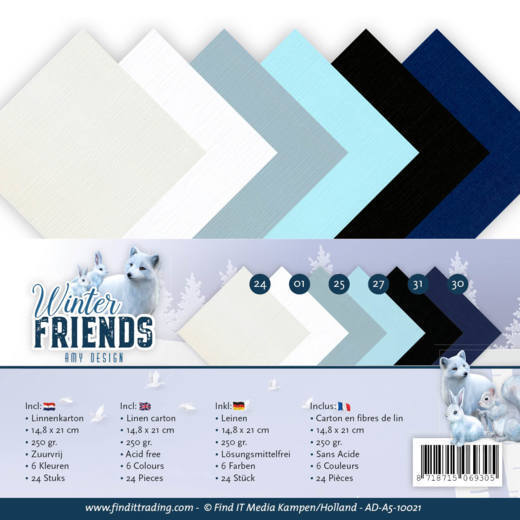 Linnenkarton Amy Design - Winter Friends (A5)