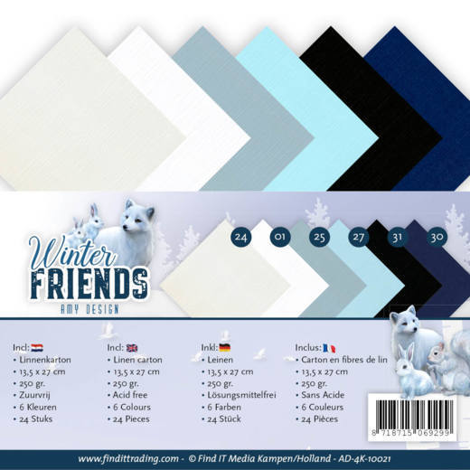 Linnenkarton Amy Design - Winter Friends (vierkant)