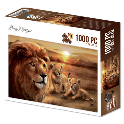 Puzzel Amy Design - Wild Animals - lion with cubs