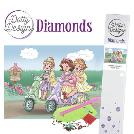 Dotty Designs Diamond Painting Pakket - Bubbly Girls - scooter