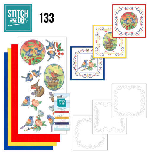 Stitch and Do Pakket 133 - blue birds