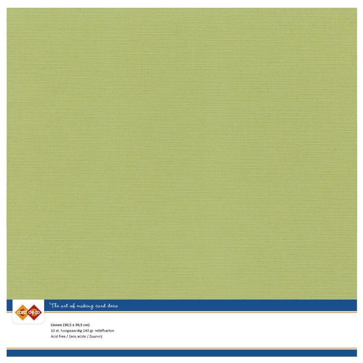 Card Deco Linnenkarton - 30.5 x 30.5 cm - 54/avocado green
