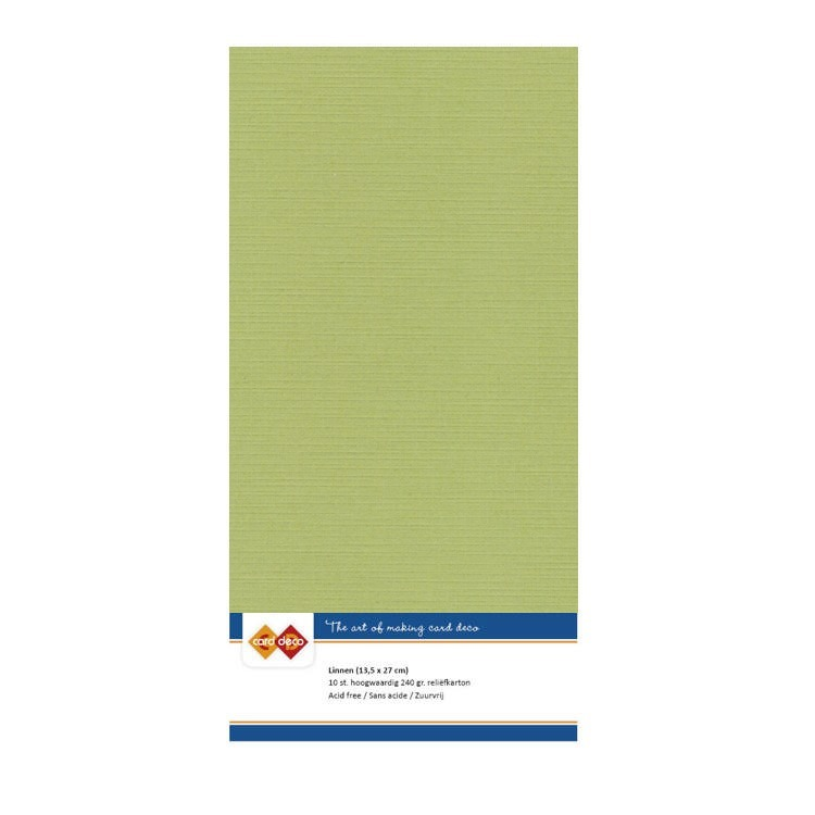 Card Deco Linnenkarton - vierkant - 54/avocado green