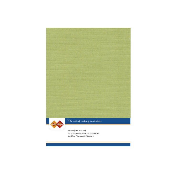 Card Deco Linnenkarton - A5 formaat - 54/avocado green