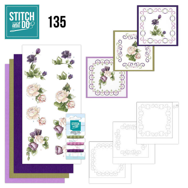 Stitch and Do Pakket 135 - purple flowers