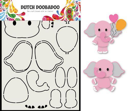 Dutch Doobadoo Card Art - olifant A5