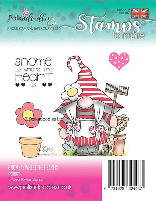 Polkadoodles Stempel - gnome is where the heart is