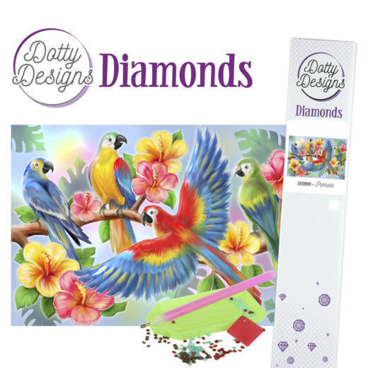 Dotty Designs Diamond Painting Pakket - parrot
