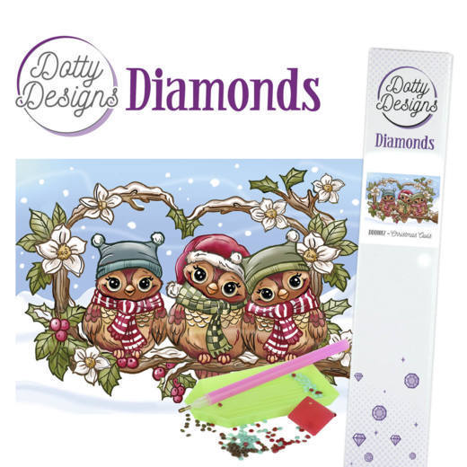Dotty Designs Diamond Painting Pakket - christmas owls