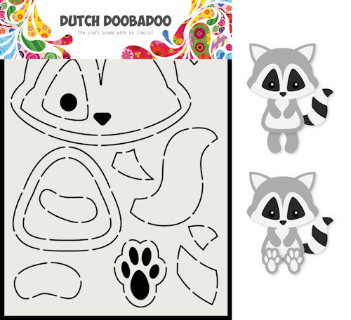Dutch Doobadoo Card Art - wasbeer A5
