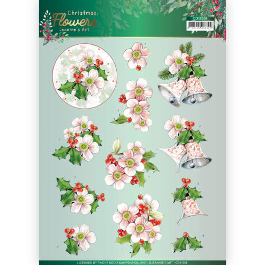 Knipvel Jeanine's Art - Christmas Flowers CD11558