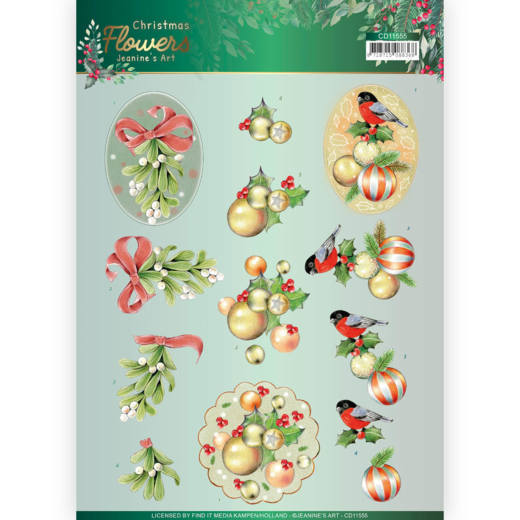 Knipvel Jeanine's Art - Christmas Flowers CD11555