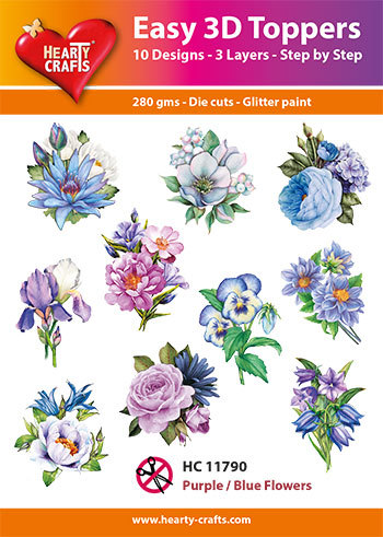 Easy 3D Toppers - purple blue flowers