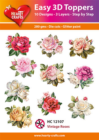 Easy 3D Toppers - vintage roses