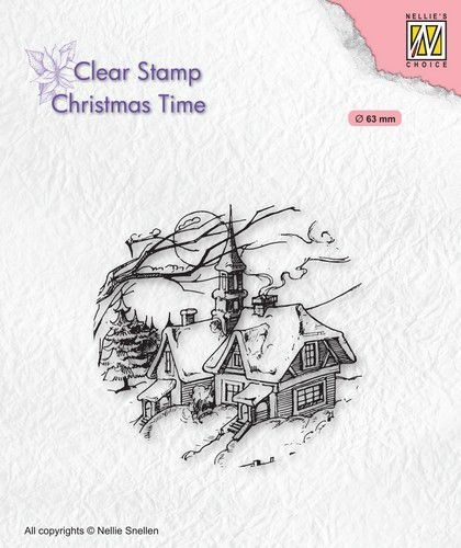 Clearstamp Nellie Snellen - Christmas Time - snowy christmas scene