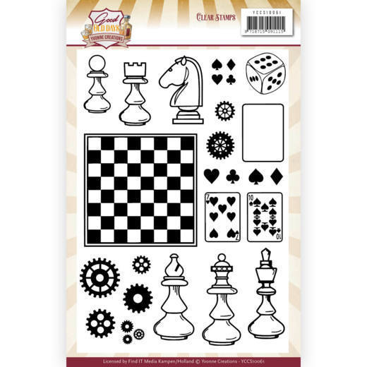 Clearstamps Yvonne Creations - Good Old Days - chess