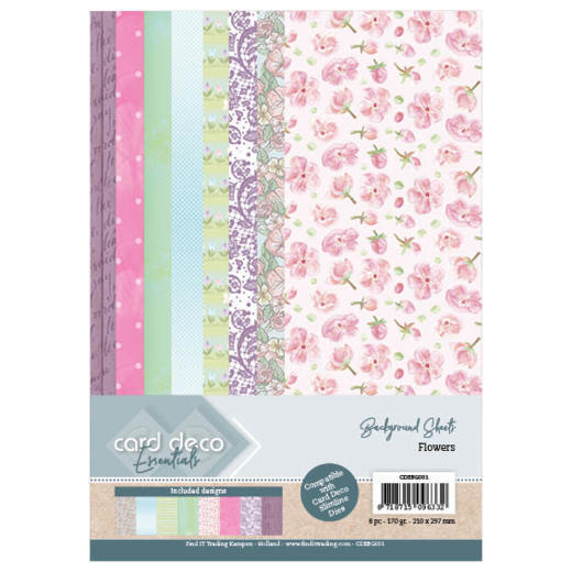 Card Deco Essentials Background Sheets - flowers