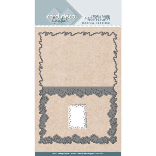 Card Deco Essentials Stans - butterfly torn edge frame A5