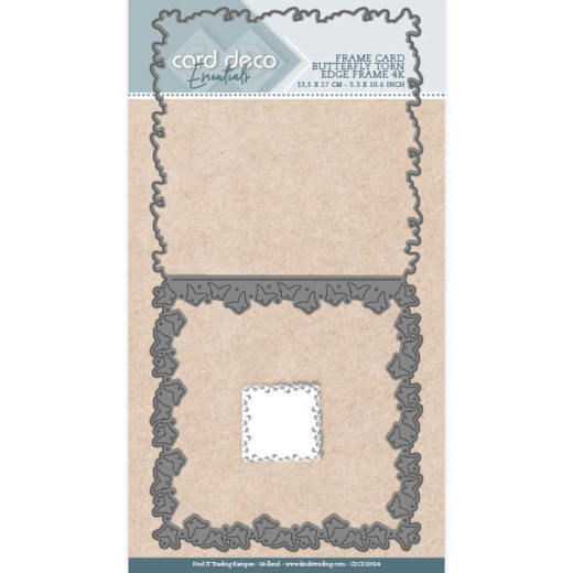 Card Deco Essentials Stans - butterfly torn edge frame vierkant