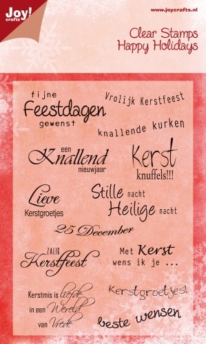 Joy Clearstamps - Happy Holidays - Tekst Kerst NL