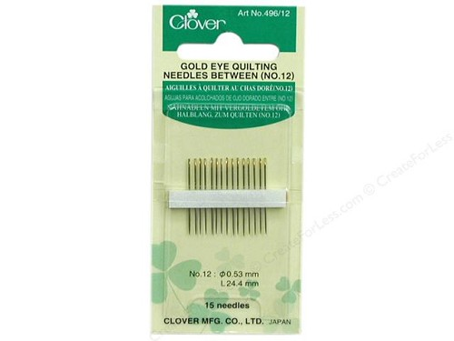 Clover Gold Eye Quilting Needles Between - no. 12