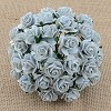 Mulberry Paper Flowers - Open Roses - 15 mm - silver grey