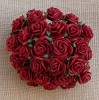 Mulberry Paper Flowers - Open Roses - 15 mm - deep red