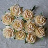 Mulberry Paper Flowers - Open Roses 15 mm. - Autumn Gold