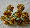 Mulberry Paper Flowers - Open Roses 15 mm. - Old Gold