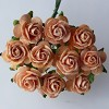 Mulberry Paper Flowers - Open Roses 15 mm. - Peach