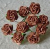 Mulberry Paper Flowers - Open Roses 15 mm. - Coffee Brown