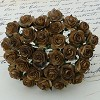 Mulberry Paper Flowers - Open Roses 15 mm - 2-tone chocolate