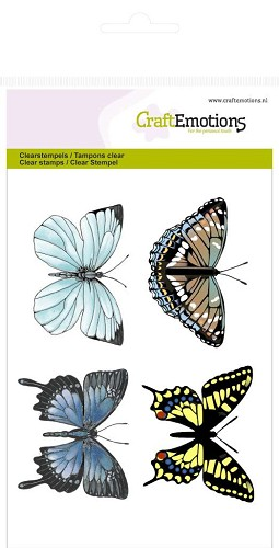 Craft Emotions Clearstamps - Botanical 4 Butterflies