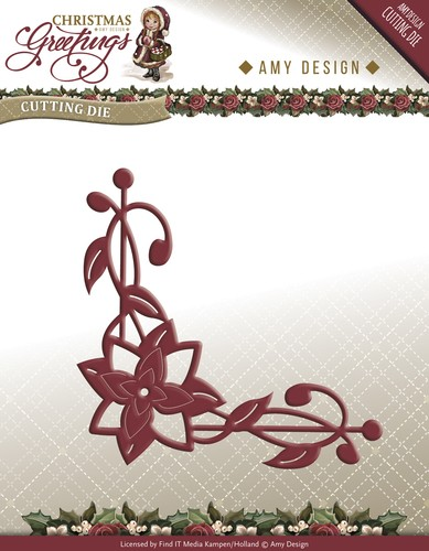 Amy Design Stans - Christmas Greetings - poinsettia corner
